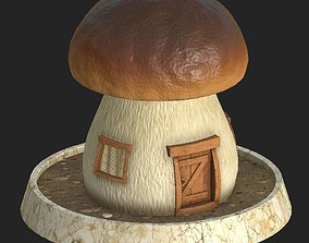 3D model game-ready Cartoon mushroom house 3