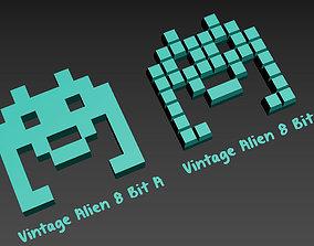 Vintage Alien 8 Bit for 3d Print