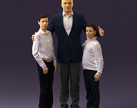 Family man two teen boys 0930 3D
