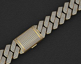 20MM CUBAN LINK CHAIN 3 ROWS DIAMOND 3D print model 1