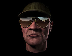 head with cap and sunglass 3D model