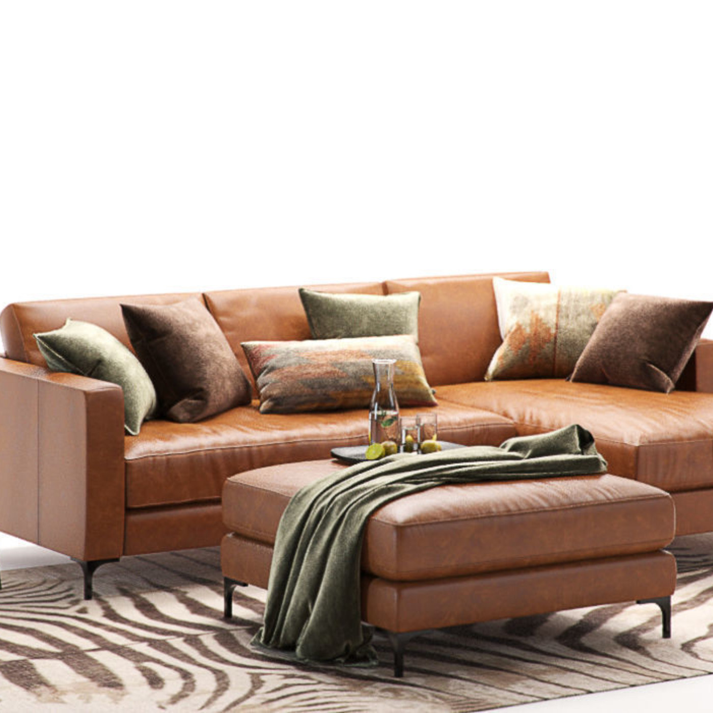 Furniture Visualization Pottery Barn Jake Leather Sofa