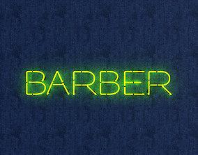 decoration Barber Neon Sign 3D asset