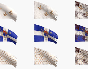Old French Flag Collection 3D model PBR
