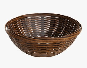 Wicker basket bowl with clipping path 2 dark 3D model