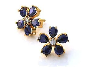 flower earrings with stones pear 3D printable model