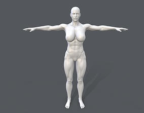 3D asset Middle poly female basemesh - 1