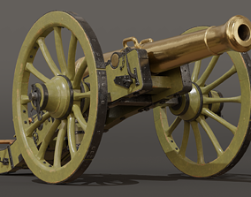 French Napoleonic Cannon 12 Pounder 3D model