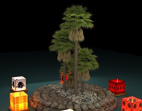 Chinese water lantern with Hawaii palm tree 3D