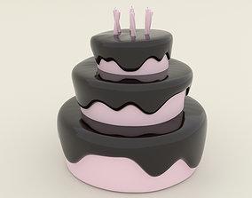 miniature Stylized Birthday Cake - 3D Print Model