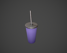 Purple Tumbler with Straw 3D model