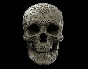 Decorated human skull intended for 3D printing