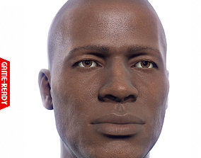 Average Black Male Head 3D asset