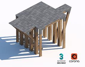 3D model timber wood sunshade summerhouse bench