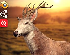 Animated Lowpoly Fur Deer Stag 3D model