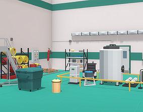 Low Poly Chemical Lab 3D asset