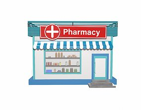 3D asset Pharmacy cartoon building