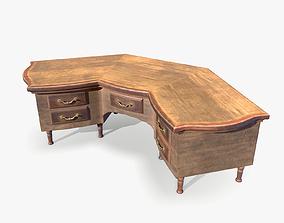 3D asset Corner Study Table lowpoly