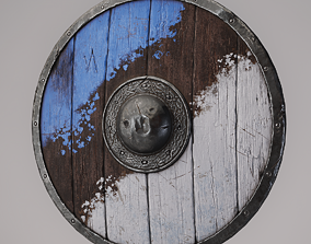 3D model game-ready Wooden shield
