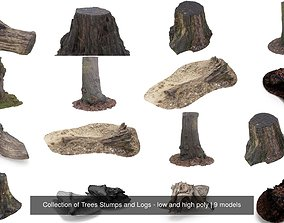 3D Collection of Trees Stumps and Logs - low and high poly