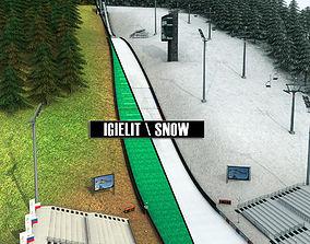 Ski jumping hill high detail 3D model