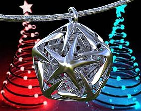 3D printable model X-MAS ICOSAHEDRON LINKED STAR PENDANTS