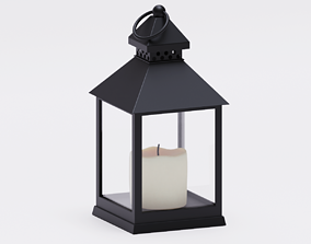 Realistic lantern with a candle 3D model
