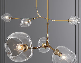 3-globe Branching Bubble Brushed Brass and 3D model 1