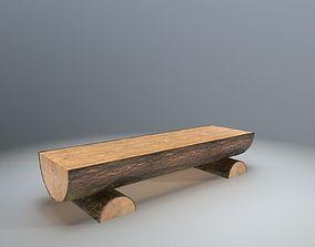Rough wooden Bench 3D asset