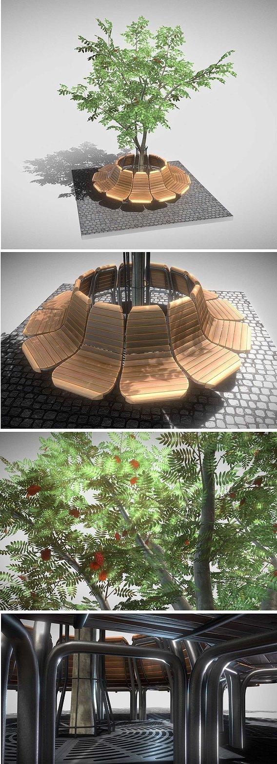 Round Bench with Citytree (Rowan)