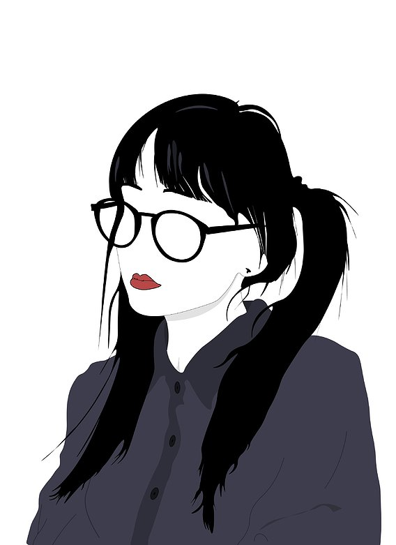 Illustration of cute girl without eyes, minimalist concept illustration