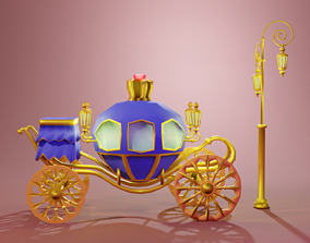 Blue Carriage with Gold 3D asset