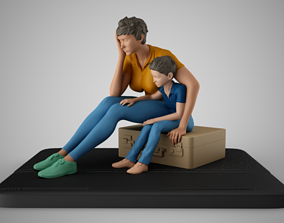 Mother and Her Child Stay on the Road 3D print model