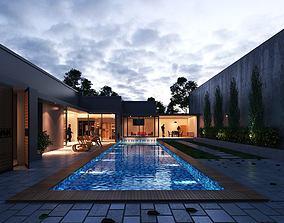 Modern Villa Design 3D model animated