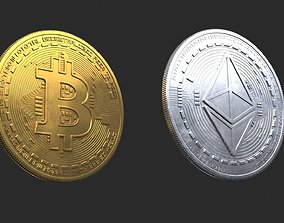 Bitcoin and Ethereum Coins 3D