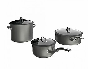 3D Cooking Ware Silver Pots