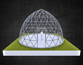 Pointed dome geodesic triangulated structure 3D asset 2