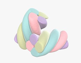 3D Marshmallows candy cylindrical twisted