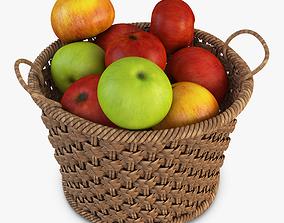 3D model Basket with Apples