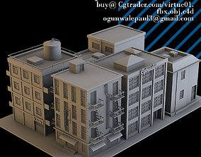 simple residential building pack 3D asset