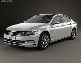 3D model Volkswagen Passat B8 sedan with HQ interior 2014