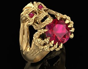 3D print model Ring Skull with rubies