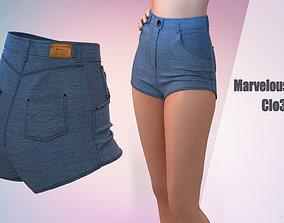 Denim shorts for girls Marvelous Desinger 3D model