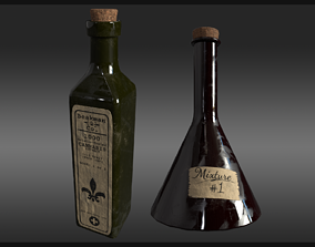 Plague Doctor Bottle and Flask 3D model