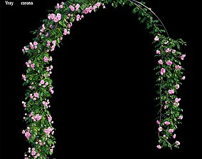 3D model trunk Rose plant set 46