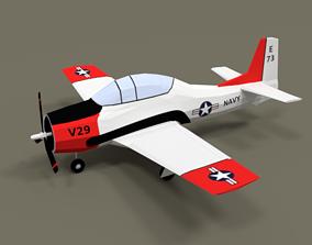 Low Poly T-28 Trojan Training Airplane 3D asset