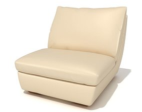 Large Cream Armchair 3D