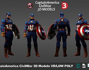 Superheroes Captain America pack v1 3D asset low-poly