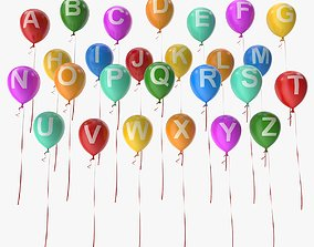 3D asset Alphabet on Balloons