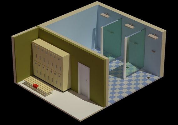 Different low poly and isometric scenes